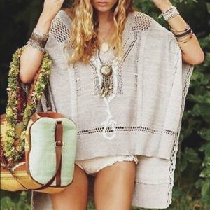 Free People | Tan poncho with crochet edges